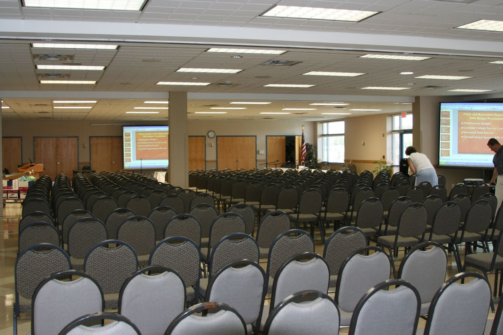 Rows of Chairs Facing the Front of the Room