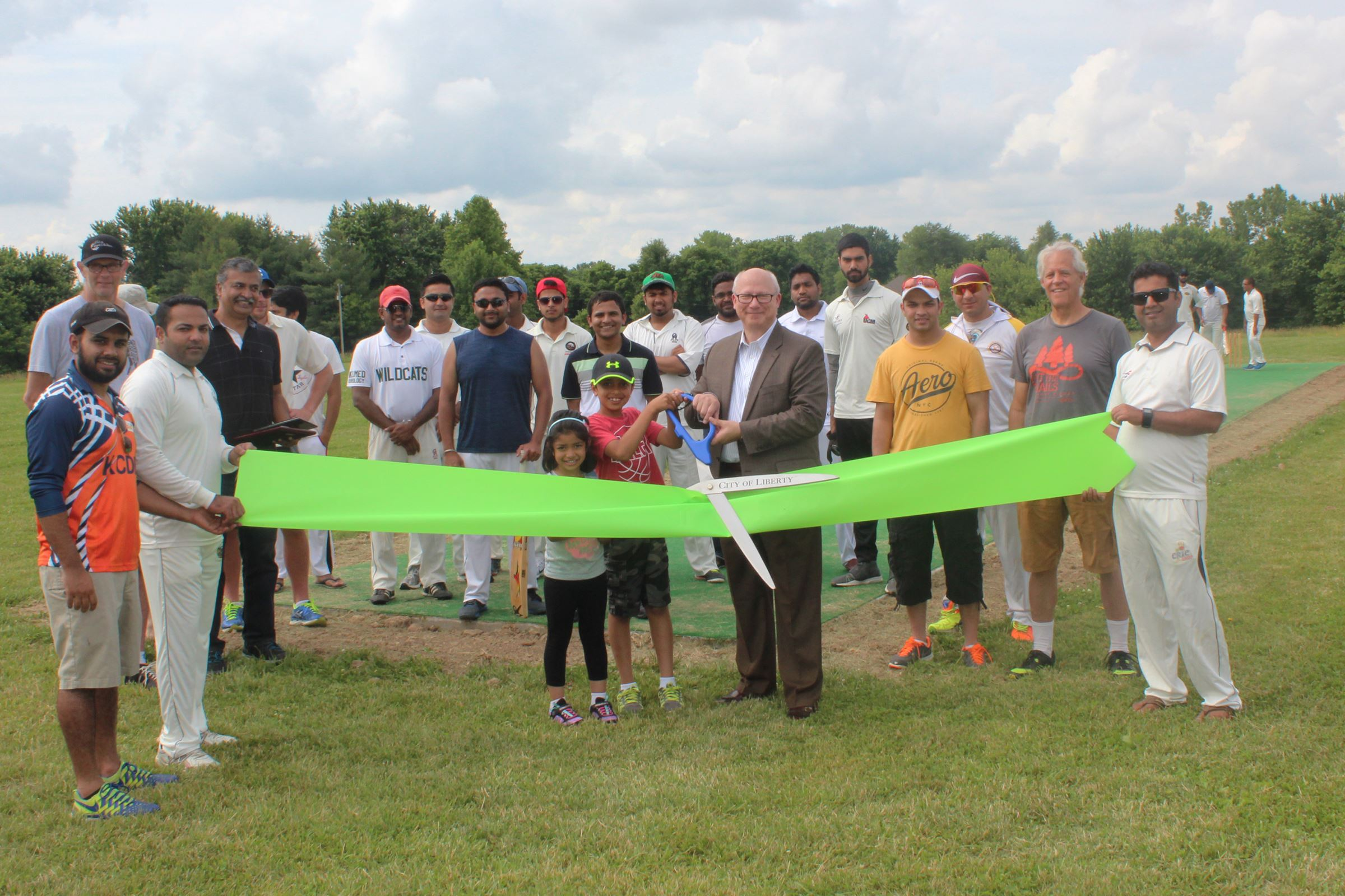 Stocksdale Park Cricket Pitch ribbon cutting