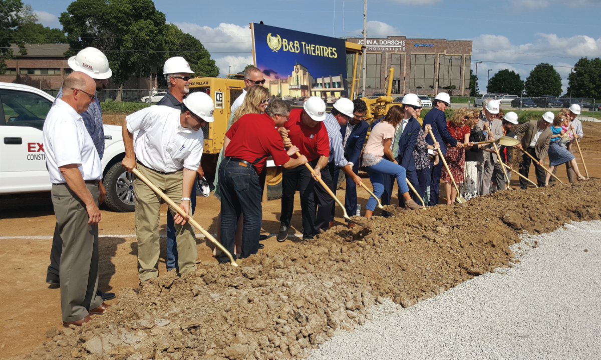 As a result of the Liberty Commons Shopping Center being approved, B & B theater purchased property to house their new theater complex and office headquarters.  The Groundbreaking ceremony was held on